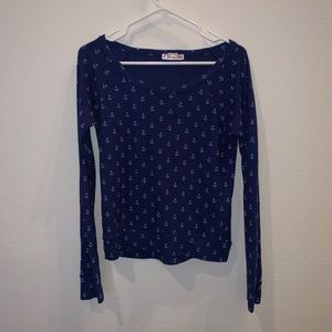 Curious Gypsy Blue Anchor Sweater Size Small